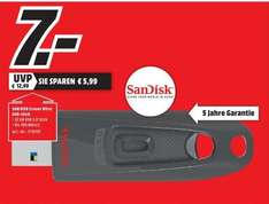 [Lokal Mediamarkt Schweinfurt] SanDisk Ultra 32GB USB-Flash-Laufwerk USB 3.0 bis zu 100MB/Sek für 7,-€