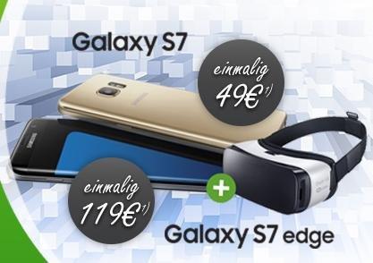 Galaxy S7 + VR  Vodafone Allnet + SMS Flat + 1,5 / 2,5 GB LTE für 39,99€ + einmalig 49,00€ oder Edge für 119€