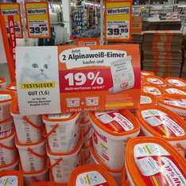 [lokal Obi Siegen] Alpinaweiß mit Katze 10l 39,99€ -19%Cashback