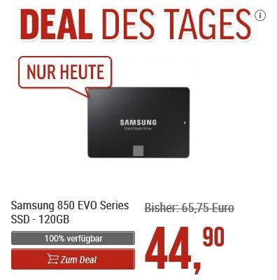 [Notebooksbilliger.de] Samsung SSD 850 EVO 120GB, SATA 6Gb/s, R/W 540/?520MB/?s für 44,90€ Versandkostenfrei