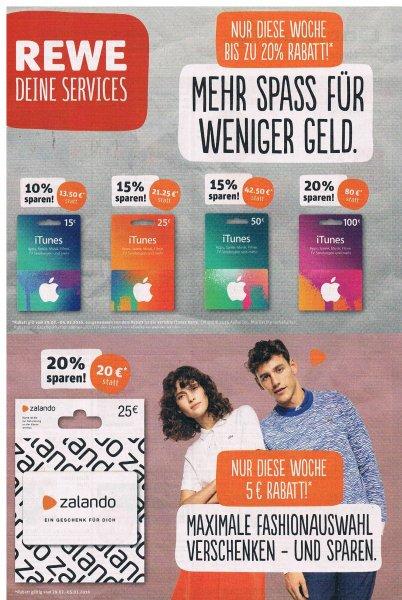 [REWE bundesweit] 25€ zalando Geschenkkarte für 20€
