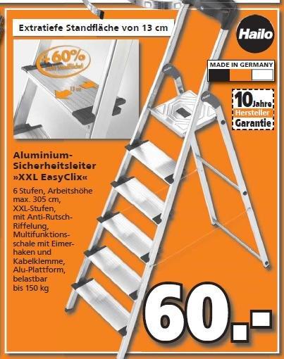 [Globus-Baumarkt] HAILO XXL EasyClix 6 Stufen Aluminium-Leiter (10 Jahre Garantie) für 60 Euro.