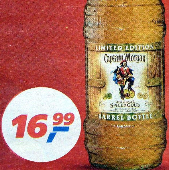 Captain Morgan Spiced Gold Barrel Bottle 1,5 Liter zum BESTPREIS 16,99€  [Real]