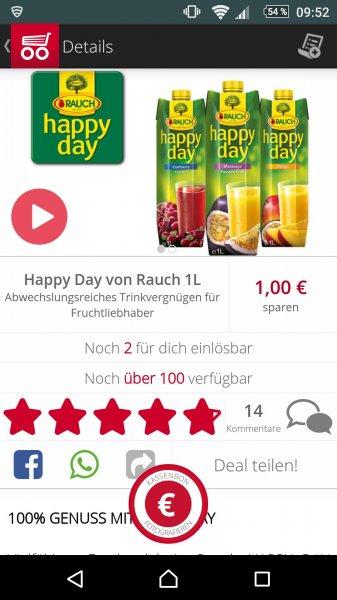 (Bundesweit) Happy Day Saft von Rauch für 0,39 Euro bei Real durch 1 Euro Scondoo Cashback