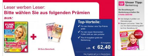 TV Zeitschrift Funkuhr bei Bankeinzug 60 Wochen für 2,40€ dank 60€ Bargeldprämie