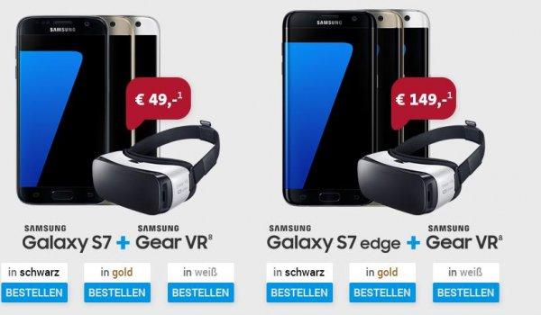 Samsung Galaxy S7 + Gear vr bei Sparhandy für 34,99€ + einmalig 49€ (888,76€) oder Edge 149€ (988,76€) Vodafone Smart L Deluxe