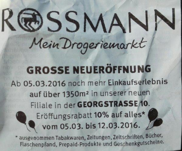 Rossmann Neueröffnung in Hannover-Mitte, 10% Rabatt