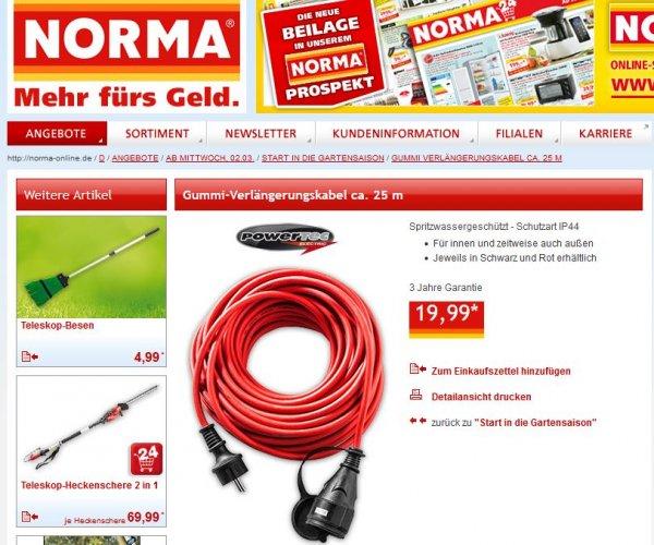 [Norma] (ggf. lokal) ab Mittwoch, 2.3. Gummi-Verlängerungskabel 25m, rot, IP44 auch für außen