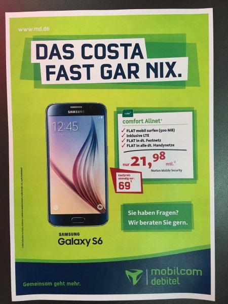 Samsung GALAXY S6 32GB + E-Plus Comfort Allnet (24M) (Saturn Göttingen-Lokal) einmalig 69,-