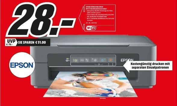 [Lokal Mediamärkte Hamburg und Umgebung] NUR am 29.02..Epson Expression Home XP-235 Tintenstrahl Multifunktionsdrucker (Drucken, Scannen, Kopieren, 5.760 x 1.440 dpi, USB, Wi-Fi) schwarz  für 28,-€