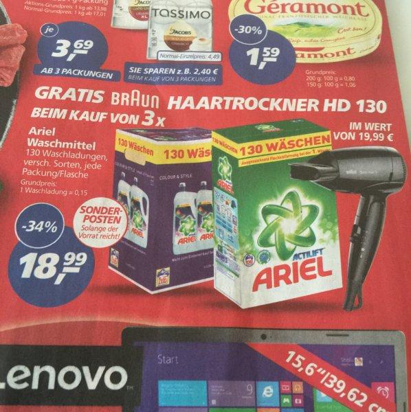 (Real Bundesweit) 3x Ariel Waschmittel 130WL flüssig oder Pulver gratis braun Haartrockner wert 19,99€
