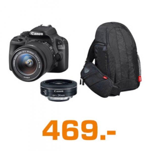 (Saturn Österreich) Canon 100D 18-55 S + EF-S 24mm 1:2,8 STM + Kamerarucksack