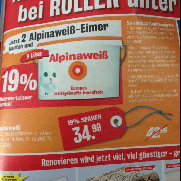 [Lokal Roller Herzogenrath] Alpinaweiß 9Liter, 34,99€ = ab 2 Eimer 19% MwSt. zurück!