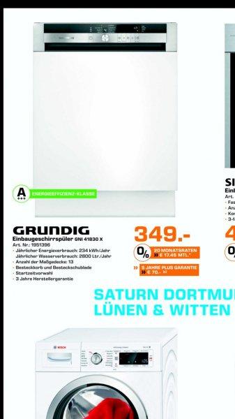 [SATURN Dortmund-Eving]GRUNDIG GNI 41830 X, Geschirrspüler, Einbaugerät, A+++, 3Jahre Herstellergarantie, Edelstahl