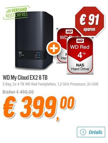 [Notebooksbilliger.de] WD My Cloud EX2 8TB mit 2 x 4TB WD Red Festplatten (Netzwerkspeicher, NAS, 2-Bay, 1,2GHz Prozessor, 2x USB 3.0) für 399,-€ Versandkostenfrei