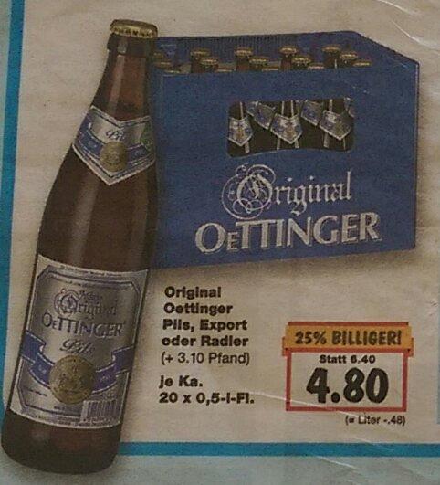 Oettinger Pils, Export oder Radler 20x0,5L für 4,80€