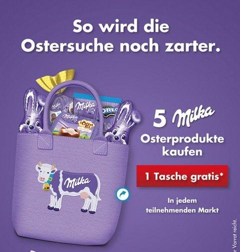 5 Milka Osterprodukte kaufen und 1 Tasche gratis