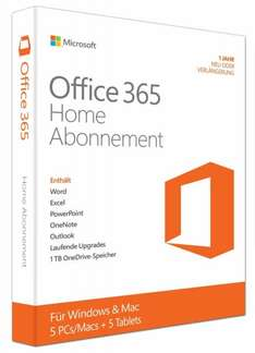 [Amazon] Office 365 Home (für 5 PC/Mac + 5 Tablets für 1 Jahr) für 49,99€