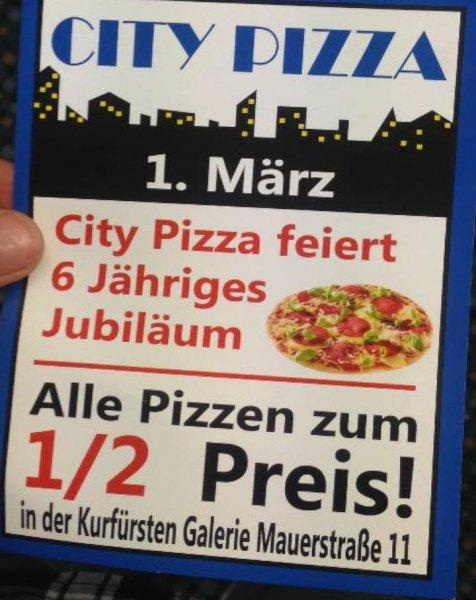 [lokal Kassel] 50% auf alle Pizzen bei CityPizza
