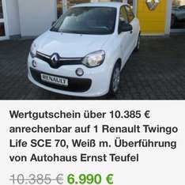 [Online Groupon] (evtl. -13% QIPU) Renault Twingo Life SCE 70, Weiß, ABS, ESP, Boardcomputer