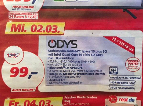 [03.02.] Odys, Tablet PC, 25,65 cm (10,1 Zoll), Quad Core Prozessor (4 x 1,2 GHz), Space 10 plus 3G