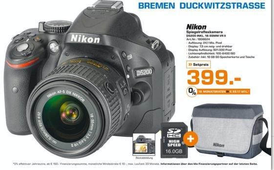 [Lokal] Saturn Bremen // DSLR Nikon 5200 Kit plus Zubehör