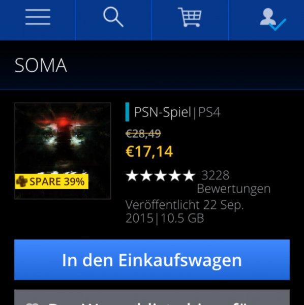 Soma PSN-Spiel für PS Plus Mitglieder 17,14 Euro