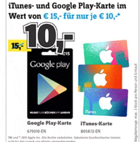 [Conrad] iTunes und Android Karten 15€ für 10€