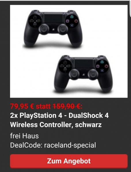 2x PlayStation 4 - DualShock 4 Wireless Controller, schwarz für 79,95 € statt 159,90 €