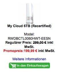 My Cloud 6TB (Recertified) - auch 4, 3,1 TB verfügbar