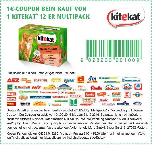 1 € Rabatt auf Kitekat 12er Multipacks