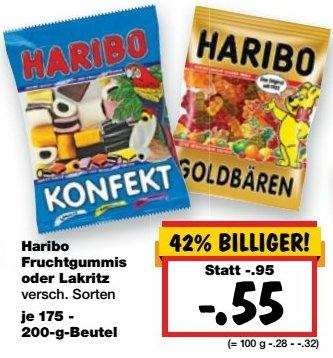 [KAUFLAND BUNDESWEIT] KW10: Haribo Fruchtgummis oder Lakritz 175-200g für 0,55€