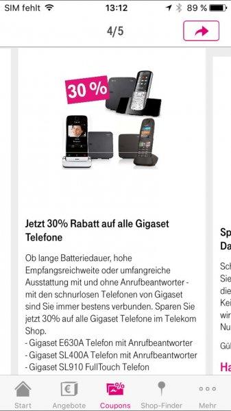 30 % Rabatt auf Gigaset Telefone im Telekom Shop