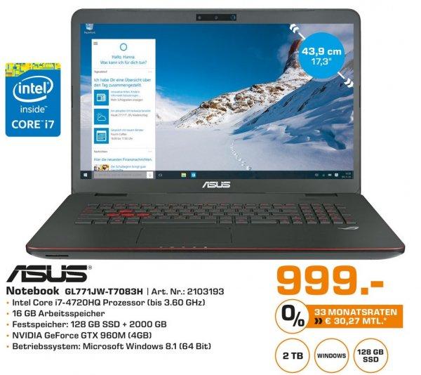 ASUS ROG GL771JW-T7083H Notebook 999€  (Lokal Friedberg bei Augsburg)