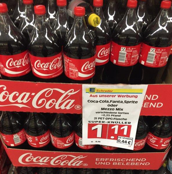 [Lokal - EDEKA Berlin - Schöneberg] Coca-Cola, Fanta, Sprite, Mezzo 2l für 1,11€ (0.56€ / Liter Grundpreis)