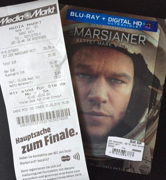 Der Marsianer - Rettet Mark Wattney (limitiertes Steelbook mit Lenticular) 3D Blu-ray 25€ bei Mediamarkt (Köln)