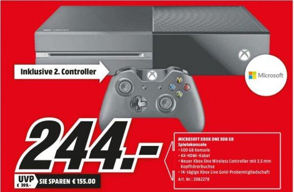 [Lokal Mediamarkt Oststeinbek] Microsoft Xbox One 500GB + 2. Controller *Neuware* für 244,-€