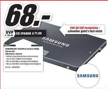 [Lokal Mediamarkt Neustadt] Samsung SSD 850 Evo 250GB inc.Starter-Kit für 68,-€