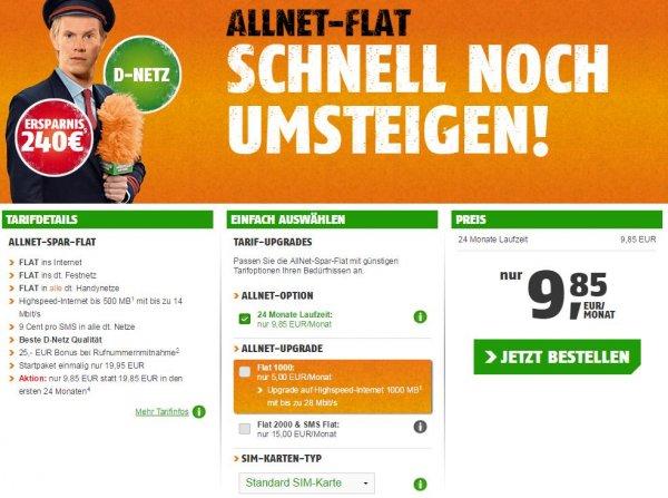 Klarmobil Telekom ALLNET-SPAR-FLAT 500MB 9,85€ pro Monat