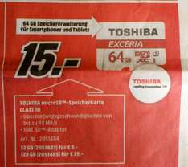 [lokal?] Mediamarkt Weiden Toshiba microsdxc 64GB 15€