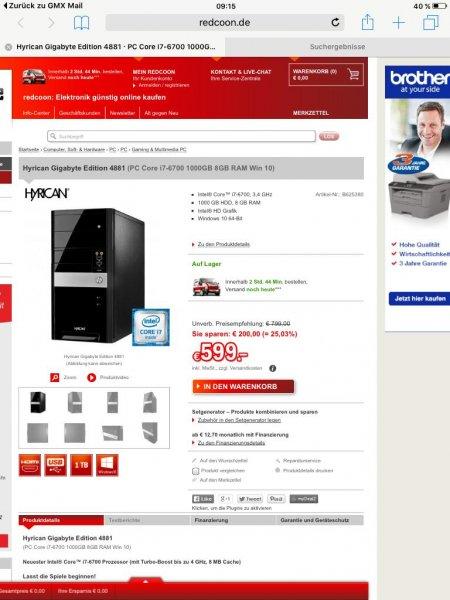 Hyricane Gigabyte Edition 4881 bei Redcoon für 604€
