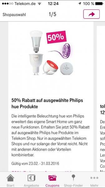 Wieder da: 50% Rabatt auf ausgewählte Philips HUE Produkte im Telekom Shop via Telekom Shop App