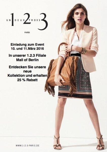 Un1 Deux2 Trois3: 25% auf die neue Kollektion, Berlin,