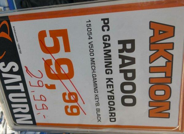 Lokal Saturn Frankfurt: Mechanische Tastatur: vapoo v500 für 29,99. PVG: 53,99.