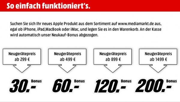 MediaMarkt Neukaufbonus auf alle Apple Produkte