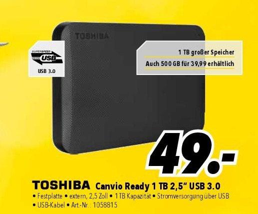 Medimax Lokal Hannover, Hildesheim - Externe Festplatte 6.35 cm (2.5 Zoll) 1 TB Toshiba Canvio Basics Matt Schwarz USB 3.0 - 49 €
