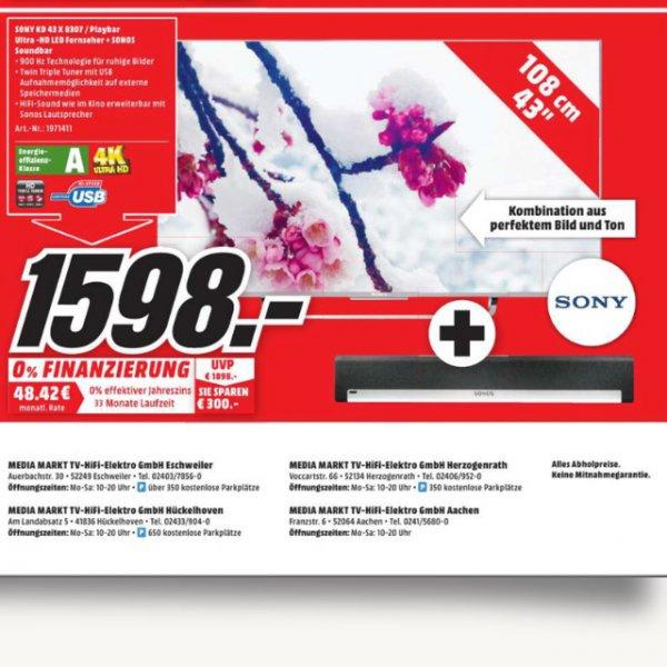 [Lokal Media Markt Eschweiler] Sony KD43X8307 Ultra HD TV + Sonos Soundbar
