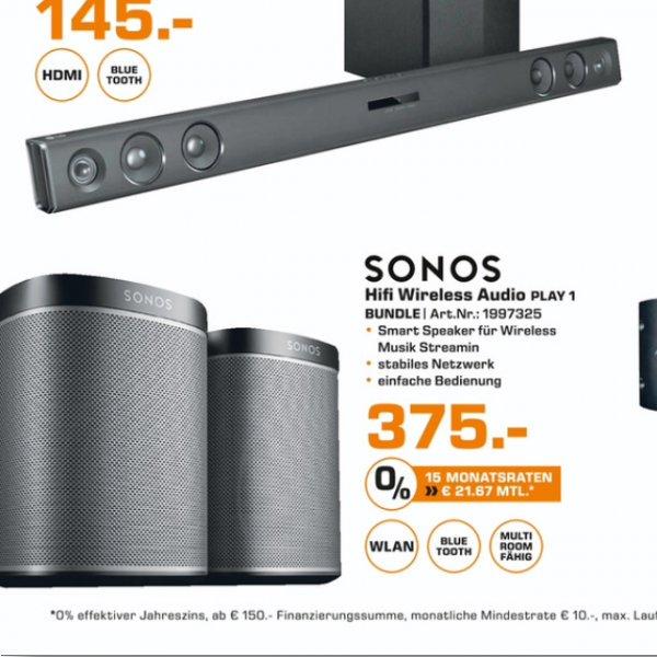 [Lokal Saturn Aachen] Sonos Play 1, 2 Stück! für zusammen 375€