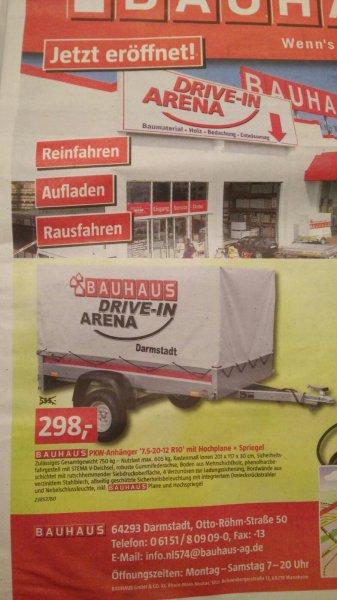 """[Bauhaus][Darmstadt][Lokal] PKW-Anhänger """"7,5-20-12 R10"""" mit Hochplane und Spriegel"""