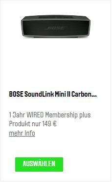 Bose Soundlink Mini II Carbon mit 1 Jahr Wired Abo für 149 Euro